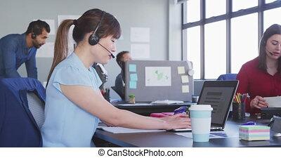 bureau, moderne, affaires gens, fonctionnement