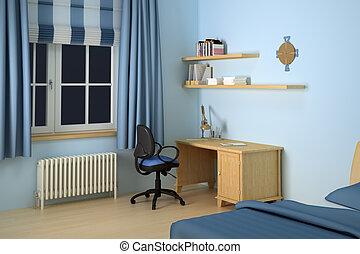bureau, moderne, chambre à coucher