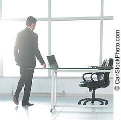 bureau, moderne, homme affaires