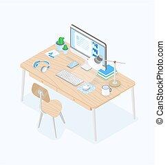 bureau, moderne, il, informatique, table, mousepad, chaise, isométrique, isolé, créatif, arrière-plan., grande tasse, clavier, blanc, lampe, coloré, exposer, workplace., bureau, écouteurs, illustration., vecteur