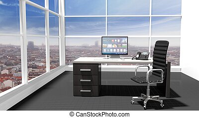 bureau, moderne, intérieur, fenêtre, cityscape, vue