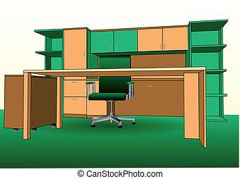 bureau, moderne, intérieur