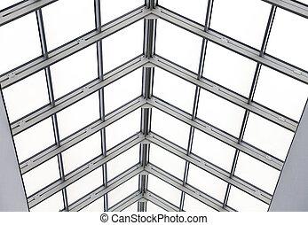 bureau, moderne, métal, toit, verre, intérieur, cadres