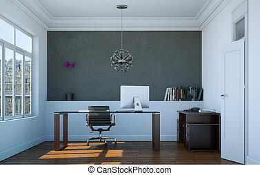 Intérieur, maison, moderne, bureau. Bureau, moderne, intérieur ...