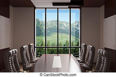 bureau, moderne, rendre, intérieur, Pays montagne,  3D