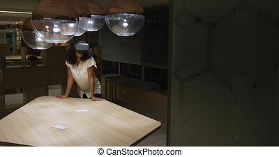 bureau, moderne, utilisation, vr, femme affaires, casque