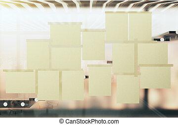bureau, moderne, vide, fenêtre verre, papiers