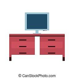 bureau, moniteur ordinateur, icône, isolé