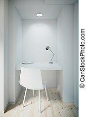 bureau, mur, petit, vide, devant, blanc