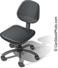 bureau, noir, chaise