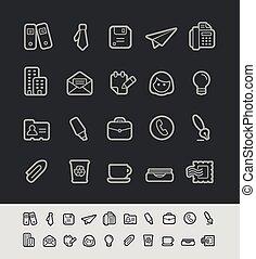 bureau, noir, icones affaires, //
