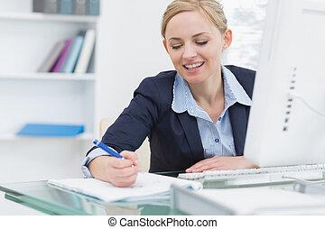bureau, notes, business, écriture, bureau, femme