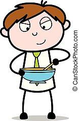 bureau, nourriture, -, illustration, mélange, vecteur, employé, vendeur, dessin animé, ingrédient