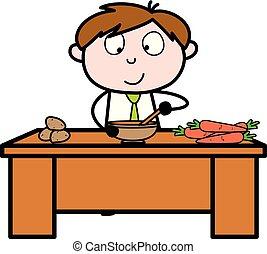 bureau, nourriture, -, illustration, vecteur, préparer, employé, vendeur, dessin animé, cuisine