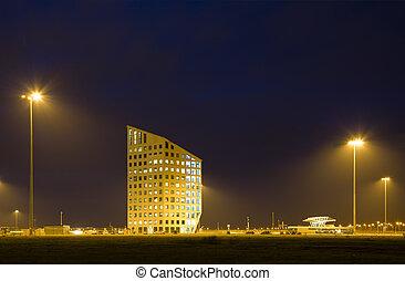 bureau, nuit, bâtiment
