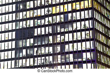 bureau, nuit, façade, bâtiment