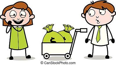 bureau, obtenir, argent, après, -, illustration, excité, vecteur, employé, vendeur, dessin animé