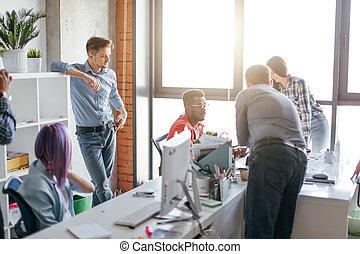 bureau occupé, business, espace, travail, gens, luxe