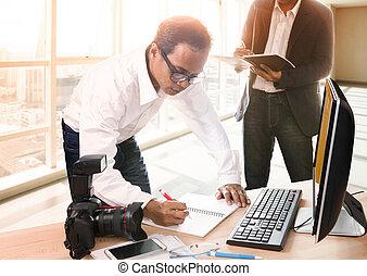 bureau occupé, fonctionnement, journaliste, très, média,...