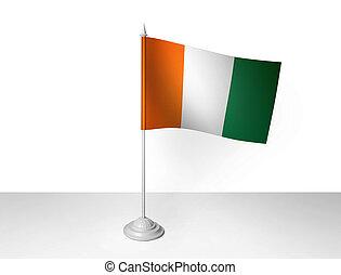 bureau, onduler, rendre, drapeau, 3d, blanc, isolé, fond, ...