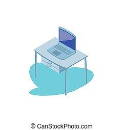 bureau, ordinateur portable, bureau, fond, blanc