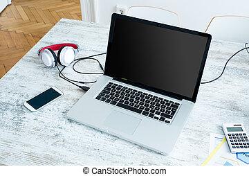 bureau, ordinateur portable, maison