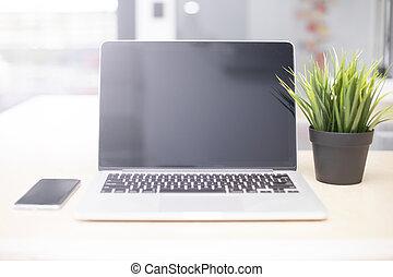 bureau, ordinateur portable, téléphone, mobile