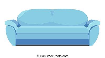 bureau, ou, classique, maison, meubles, sofa, bleu
