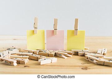 bureau, papier, note collante, bois