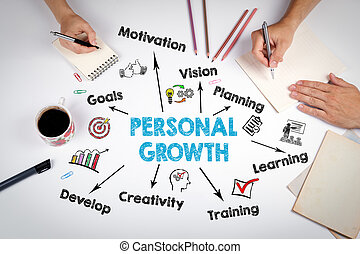 bureau, personnel, concept., croissance, table, blanc, réunion