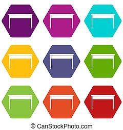 bureau, pictogram, set, kleur, hexahedron