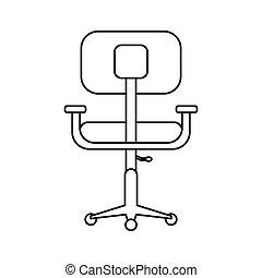 bureau, pictogramme, confort, conception, lieu travail, chaise
