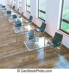bureau, plancher, bois, chaises, intérieur, cuir, blanc