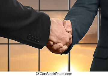 bureau, poignée main, hommes, Coucher soleil