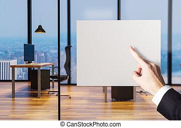 bureau, pointage, illustration, doigt, propre, vide, panneau affichage, homme affaires, 3d