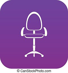 bureau, pourpre, moderne, numérique, chaise, icône