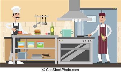 bureau, prépare, ordres, toile, met, dîners, satisfait, manger, il, wants, il, courrier, nourriture, apporte, nourriture, livraison, cuisinier, dessin animé, homme, site, rating., déjeuners