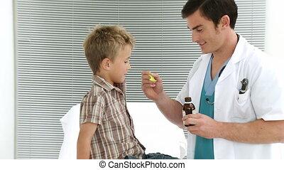 bureau, prendre, enfant, médecine, toux, monde médical