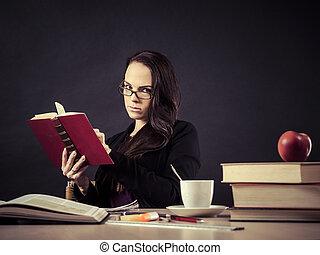 bureau professeur, lecture, elle, séance