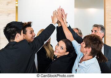 bureau, professionnels, -, jointure, collaboration, mains