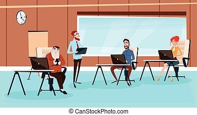 bureau, professionnels, ordinateur portable, travail, informatique, lieu travail, équipe