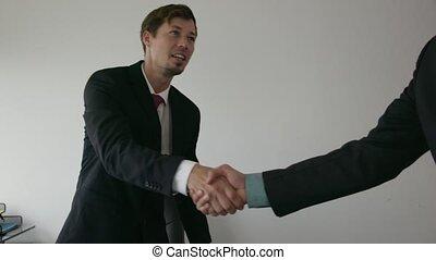 bureau, professionnels, secousse, conseiller, 4, mains, réunion