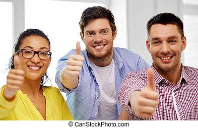 bureau, projection, haut, créatif, pouces, équipe, heureux