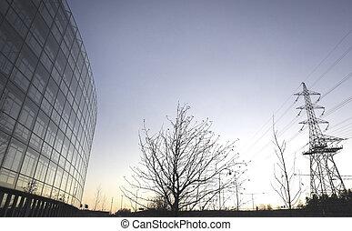 bureau, pylône électricité, bâtiment