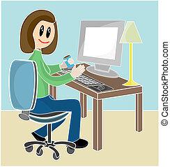 bureau réception, femme, informatique, séance