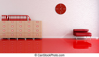 bureau, réception, rouges
