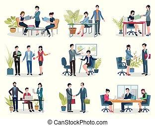 bureau, réunions affaires, conférence, et, contrat