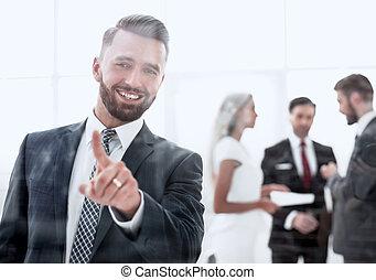 bureau, réussi, moderne, homme affaires