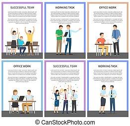 bureau, réussi, travail, illustration, vecteur, équipe
