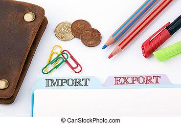 bureau, registre, importation, table, dossier, blanc, export.